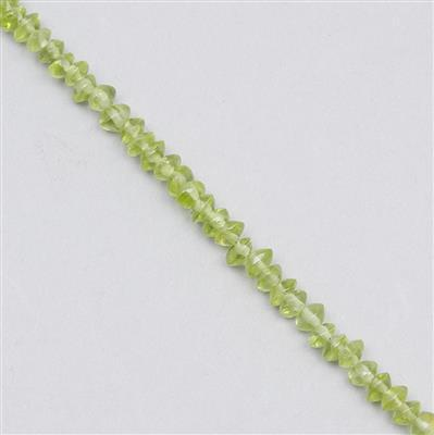 45cts Peridot Graduated Plain Bicones Approx 2x1 to 4x2mm, 31cm Strand.