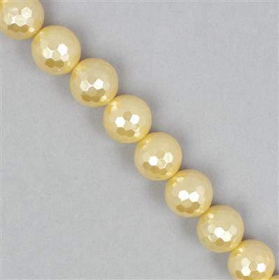 Lemon Shell Pearl Faceted Rounds Approx 12mm
