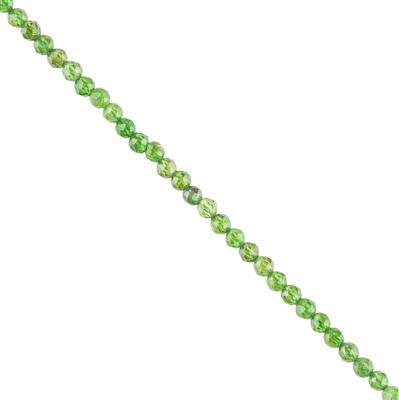 15cts Chrome Diopside Micro Faceted Rounds Approx 2mm, 38cm Strand.
