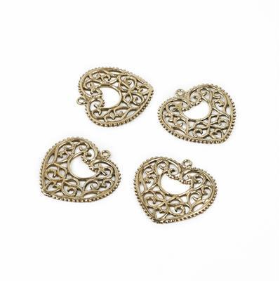 Polished Brass Heart Filigree Charm - 27mm (4pcs/pk)