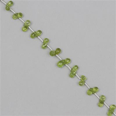 30cts Peridot Graduated Faceted Drops Approx 4x2 to 7x4mm, 18cm Strand.