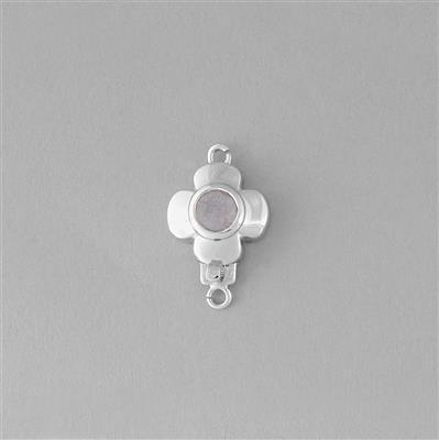925 Sterling Silver Gemset Flower Box Clasp Approx 19x12mm Inc. 0.48cts Rainbow Moonstone Brilliant Cut Round Approx 5mm.