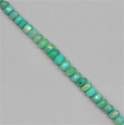 88cts Coated Chrysoprase Graduated Faceted Rondelles Approx 4x2 to 8x5mm, 20cm Strand.