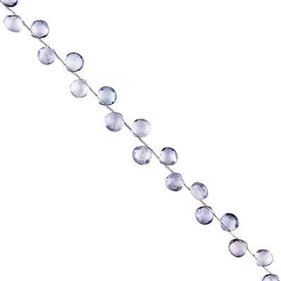 45cts Blue Coated Topaz Faceted Flat Drops Approx 7 to 8mm, 18cm Strand.
