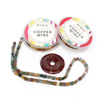 Fancy That; 60cts Fancy Jasper Cubes 4mm, 60cts Fancy Jasper Donut 40mm, Ant/Bronze Wire
