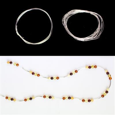 Baltic Multicolour Amber Round Nuggets and Sterling Silver Wire 0.8mm & 0.4mm