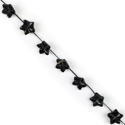 110cts Black Agate Five-petal Flowers Approx 15mm, Approx 16pcs Strand