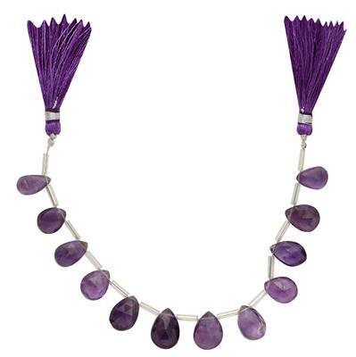 50cts Amethyst Graduated Faceted Pears Approx From 10x8 to 15x8mm, 13cm Strand.
