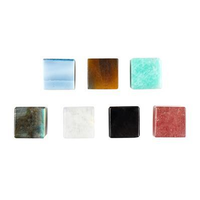 80cts Multi Gemstone Plain Half Drilled Cubes Approx 10 mm (Pack of 7)