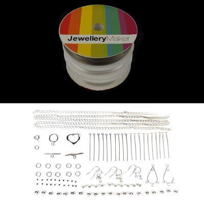 Jewellery Maker Essentials Inc Silver Plated Findings (Approx 100pcs) & Threading Pack