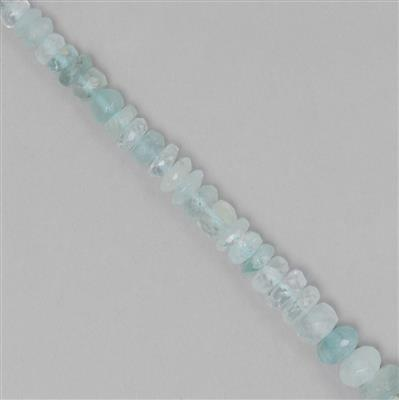 85cts Aquamarine Graduated Faceted Rondelles Approx 3x2 to 8x3mm, 23cm Strand.
