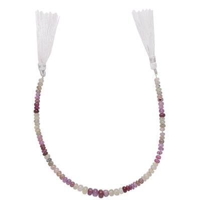 70cts Multi-Colour Sapphire Graduated Plain Rondelles Approx From 3x2 to 5x3mm, 23cm Strand.