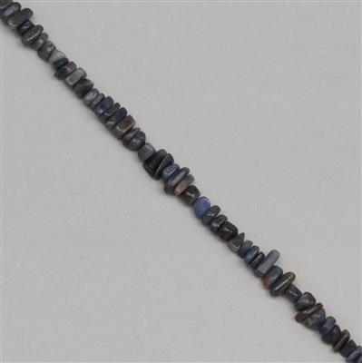 190cts Blue Sapphire Graduated Plain Medium Nuggets Approx 4x2 to 12x3mm, 31cm Strand.