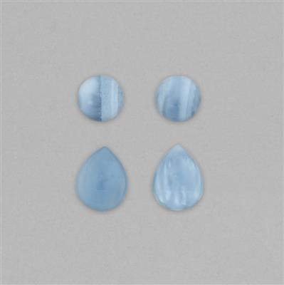 55cts Blue Opal Smooth Cabochons Assortment Inc. Round 18mm & Pear 25X20mm, 4pcs.