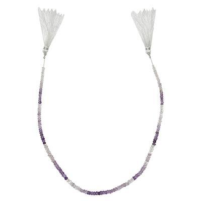 30cts Multi-Tonal Amethyst Graduated Faceted Rondelles Approx 2x1 to 4x2mm, 32cm Strand.