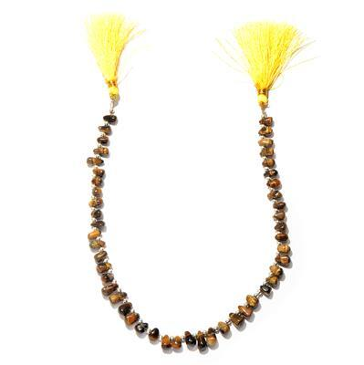 80cts Tiger Eye Graduated Plain Irregular Drops Approx From 6x3 to 10x5mm, 30cm Strand.