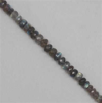 60cts Labradorite Graduated Faceted Rondelles Approx 3x1 to 7x4mm, 18cm Strand.