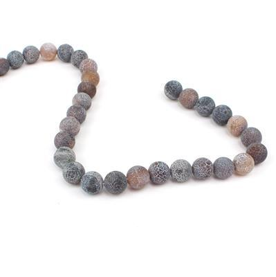 350cts Brown Frosted Crackled Agate Plain Rounds Approx 12mm, 38cm strand