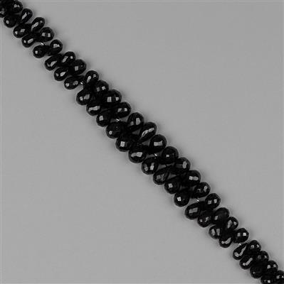 230cts Black Spinel Graduated Faceted Drops Approx 6x4 to 11x8mm, 18cm Strand.
