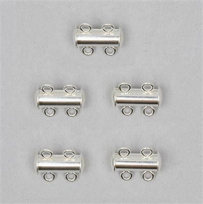 925 Sterling Silver Two Row Clasps Approx 13x11mm (5 pcs)