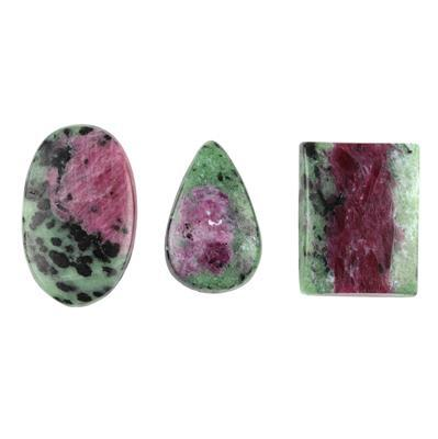 140cts Ruby Zoisite Multi Shape Cabochons Assortment.
