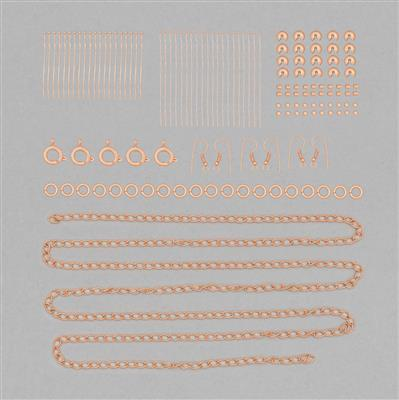 Rose Gold Plated Base Metal Finding Pack in Organza Bag (Approx 150 pcs)
