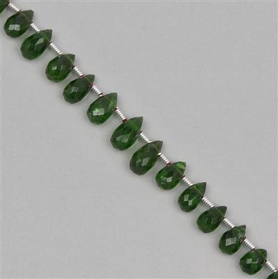 25cts Chrome Diopside Graduated Faceted Drops Approx 5x3 to 8x4mm, 19cm Strand.