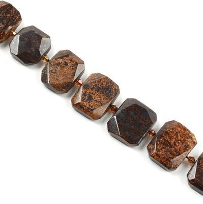 700cts Bronzite Faceted Slabs Approx from 18x22 to 20x24mm, 17pcs per strand