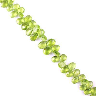 85cts Peridot Graduated Faceted Pears Approx 6x4 to 9x5mm, 21cm Strand.