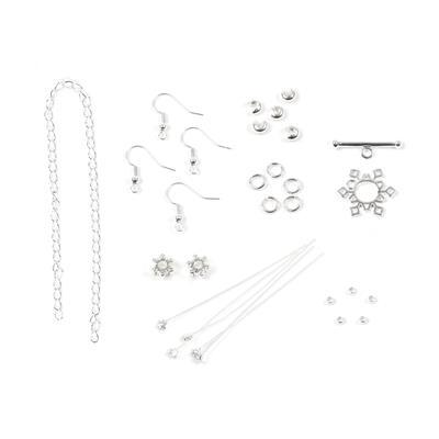 Silver Plated Base Metal Snowflake Findings Pack