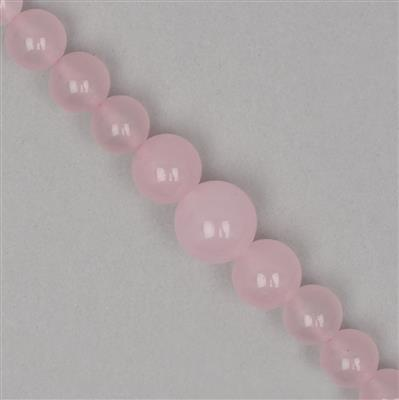 180cts Pink Colour Dyed Quartz Graduated Plain Rounds Approx From 6 to 13mm, 42cm Strand.