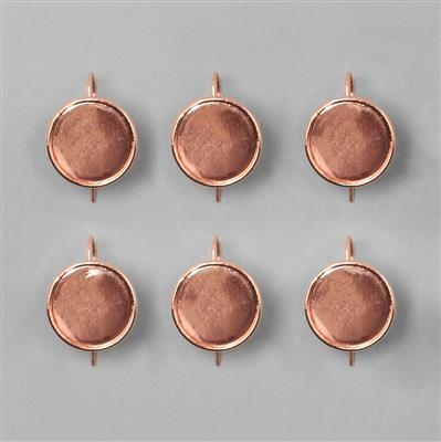 Rose Gold Plated Bezel Earrings Round - 17mm (3pairs/pk)
