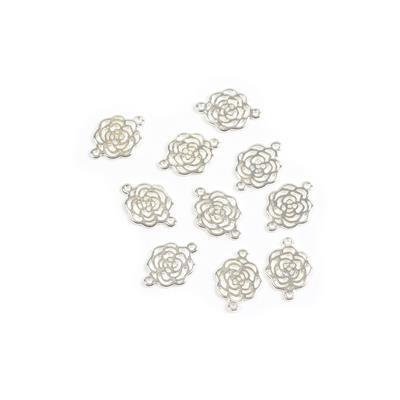 Silver Plated Base Metal Rose Connector, Approx 12X16mm (10pcs)