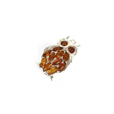 925 Sterling Silver Baltic Cognac Amber Marquise Feather Owl Pendant Approx 25x16mm