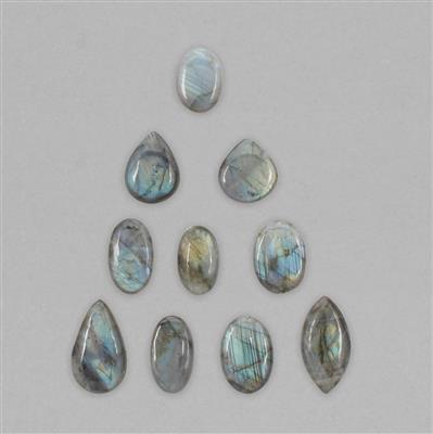 450cts Labradorite Multi Shape Plain Cabochons Assortment.