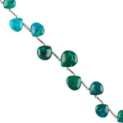 45cts Chrysocolla Graduated Plain Hearts Approx 7 to 10mm, 10cm Strand.