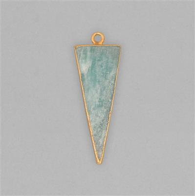 24cts Gold Electroplated Amazonite Smooth Triangle Pendant Approx 41x14mm With 4mm Loop.(1pcs)
