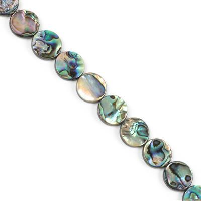 Abalone Flat Coins Approx 18mm, Approx 38cm Strand