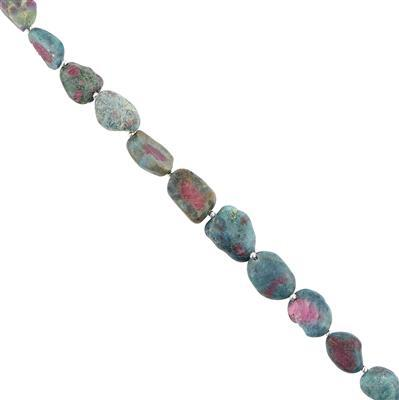 75cts Ruby Fuchsite Graduated Rough Nuggets Approx 9x6 to 14x11mm, 14cm Strand.