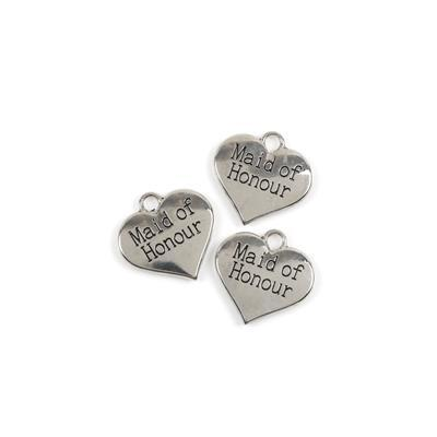 Silver Colour Heart Charms Engraved With Maid of Honour Approx 3cm 3pk