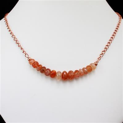 Glittering Glam; 64cts Sunstone, White Cultured Pearls and Rose Gold Plated Findings