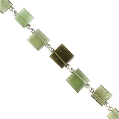 8cts Moldavite Graduated Plain Flat Squares Top Drilled Approx 5 to 7mm, 6cm Strand.