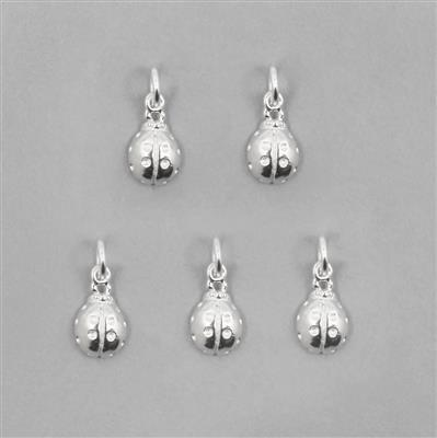 925 Sterling Silver Ladybird Charm Approx 9 x 6mm (5 pcs)