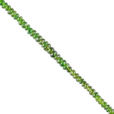 30cts Chrome Diopside Graduated Faceted Rondelles Approx 2x1 to 4x2mm, 22cm Strand.