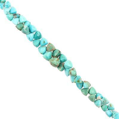70cts Turquoise Graduated Faceted Trilliants Approx 4 to 8mm, 18cm Strand.