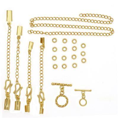 Matrix Collection; Gold Plated Copper Macrame Findings Kit (22pcs)