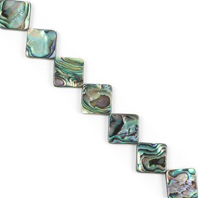 Abalone Corner-Drilled Flat Squares Approx 16x16mm, Approx 38cm Strand