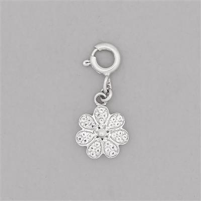 925 Sterling Silver Flower Charm Approx 12x10mm With Bolt Ring Inc. White Topaz Brilliant Round Approx 1mm