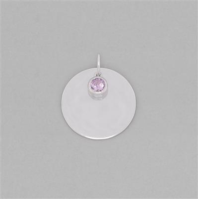925 Sterling Silver Round Tag Charm Approx 28x24mm Inc. 0.43cts Amethyst Brilliant Round Approx 5mm