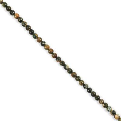 30cts Rhyolite Plain Rounds Approx 4mm, 38cm Strand